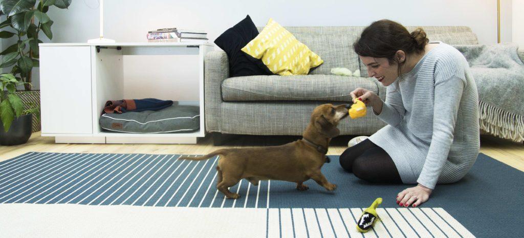 En kvinne som kaster ball med en dachshund