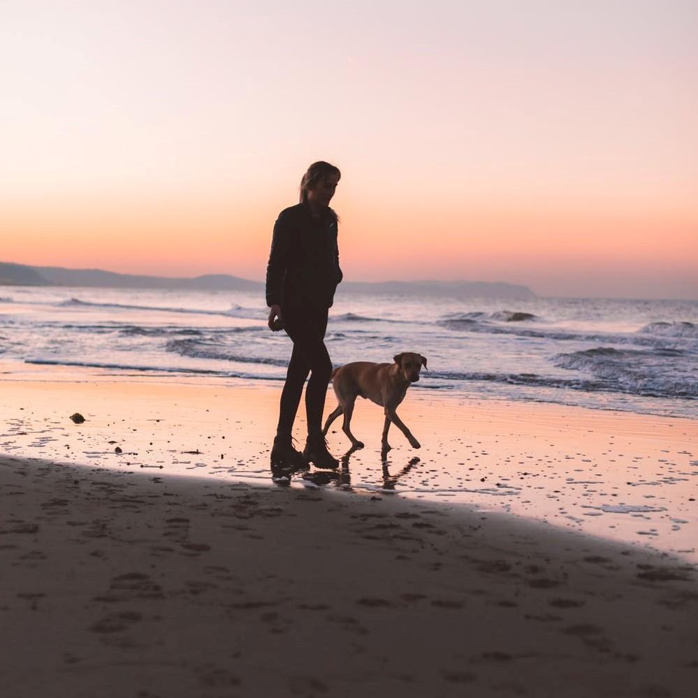 Silhouette av en kvinne som går tur med hunden sin på stranden i solnedgangen.