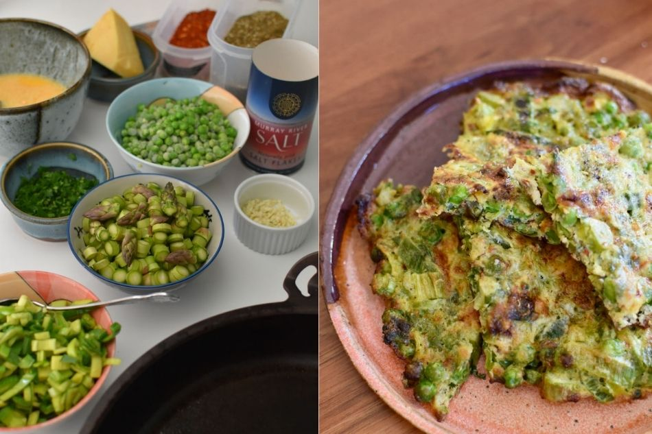 ingredients for a pea and leek frittata